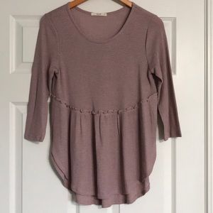🌺Mauve 3/4 Sleeve Ruffled Tail Thermal Top